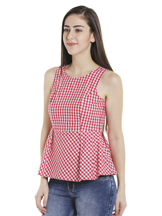 Tops-Red Check Me Out Peplum Top6