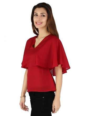 Tops-Red In The Wind Cape Top 5