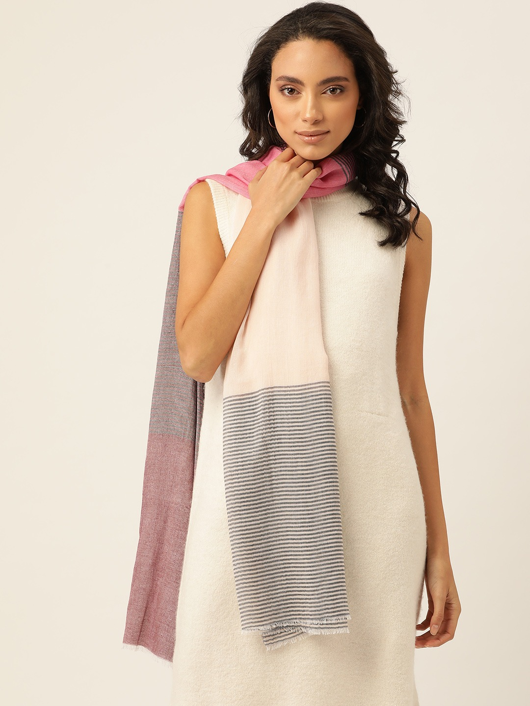 Stoles and Scarves-The Subtle Stripes Beige Scarf1