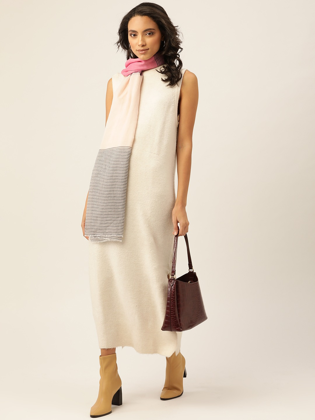 Stoles and Scarves-The Subtle Stripes Beige Scarf2