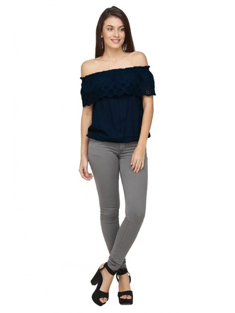 Tops-Scalloped In Flowers Blue Bardot Top 2