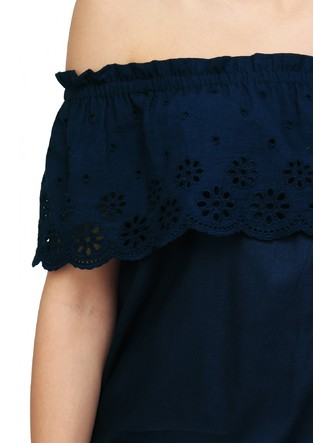 Tops-Scalloped In Flowers Blue Bardot Top 6