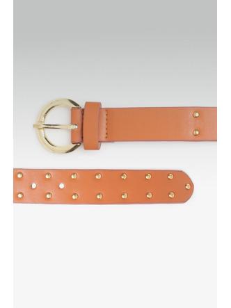Belts-Starry Studded Brown Buckle Belt1