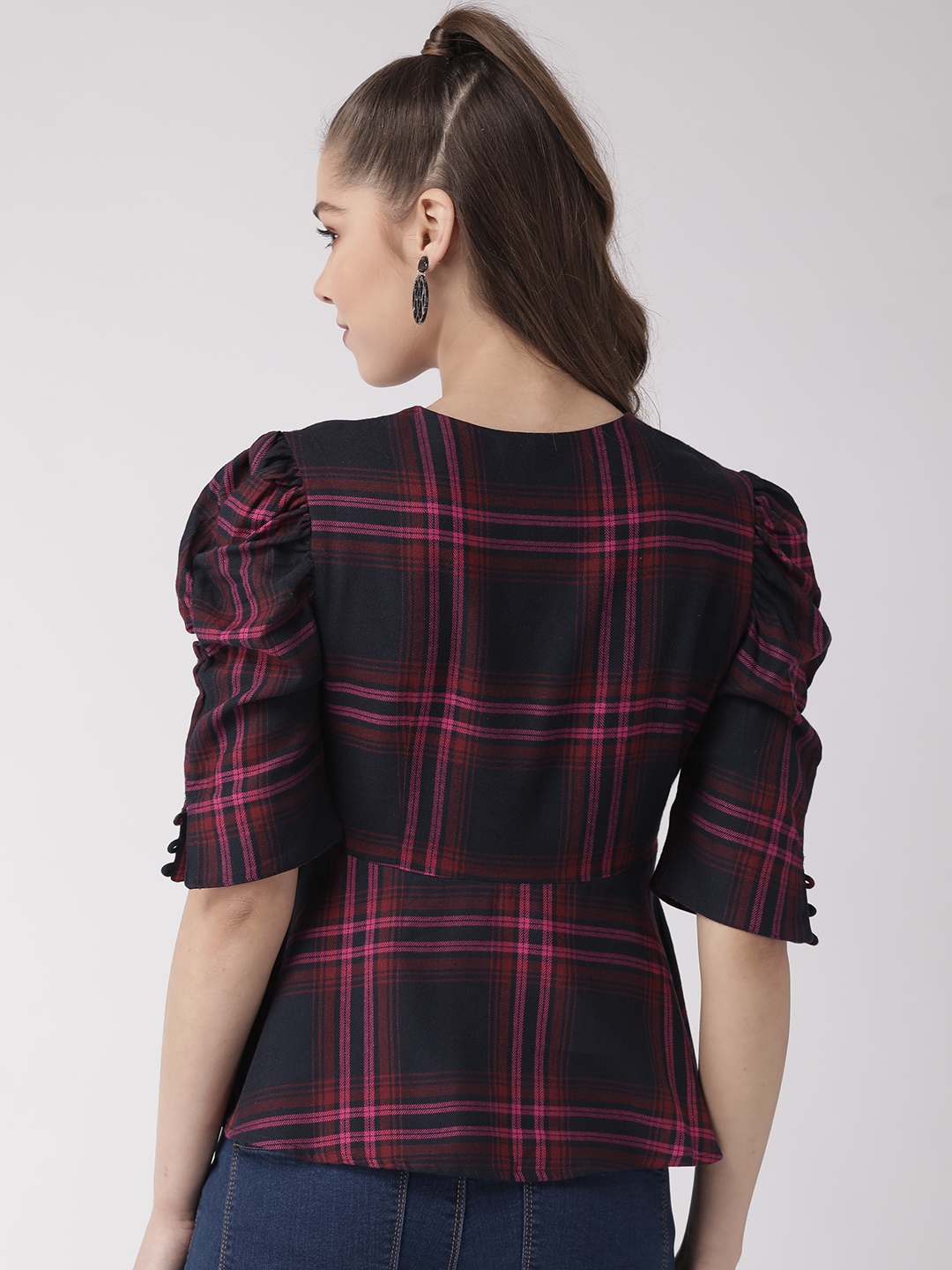 Tops-Checked Out In Style Peplum Top3