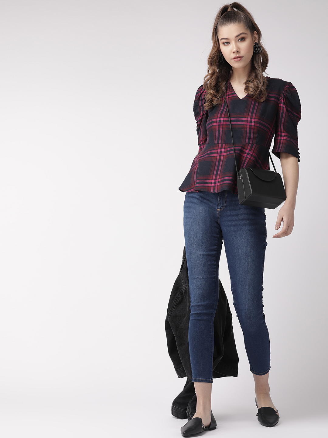 Tops-Checked Out In Style Peplum Top4