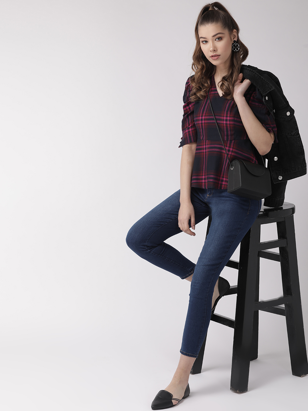 Tops-Checked Out In Style Peplum Top5