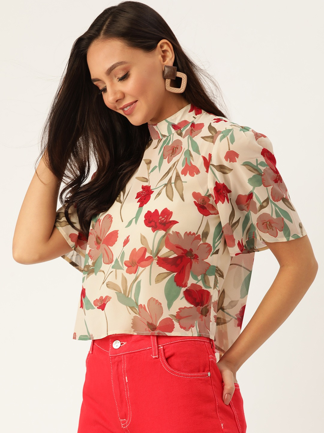 Tops-Stunning In Sheer Floral Top4