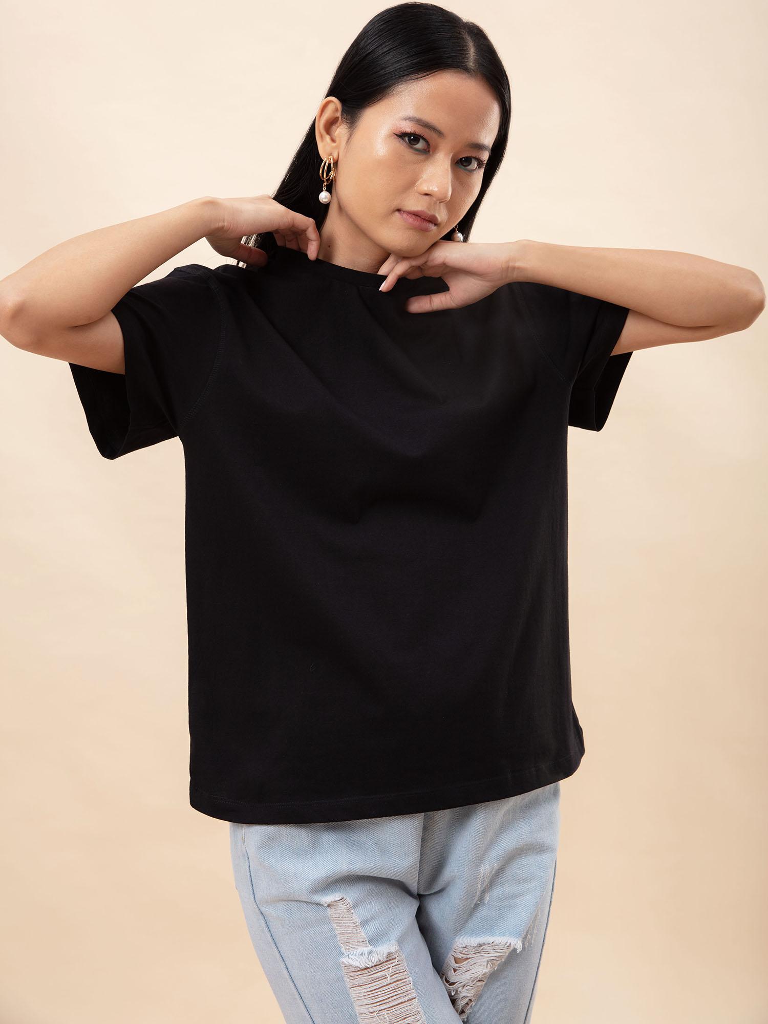 Tops-Oversized Love Black T-shirt2