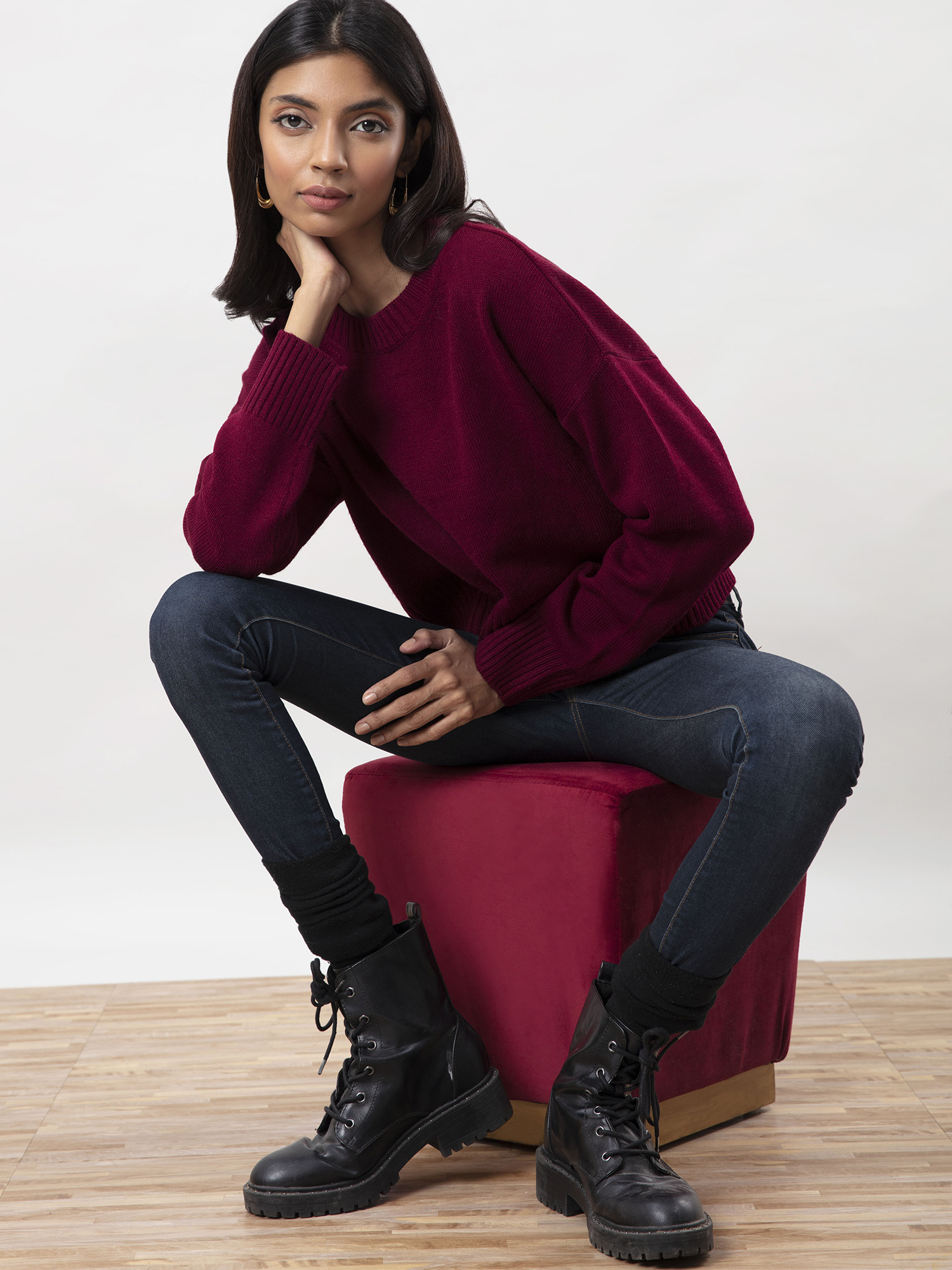 Tops-All Cozied Up Maroon Sweater 1