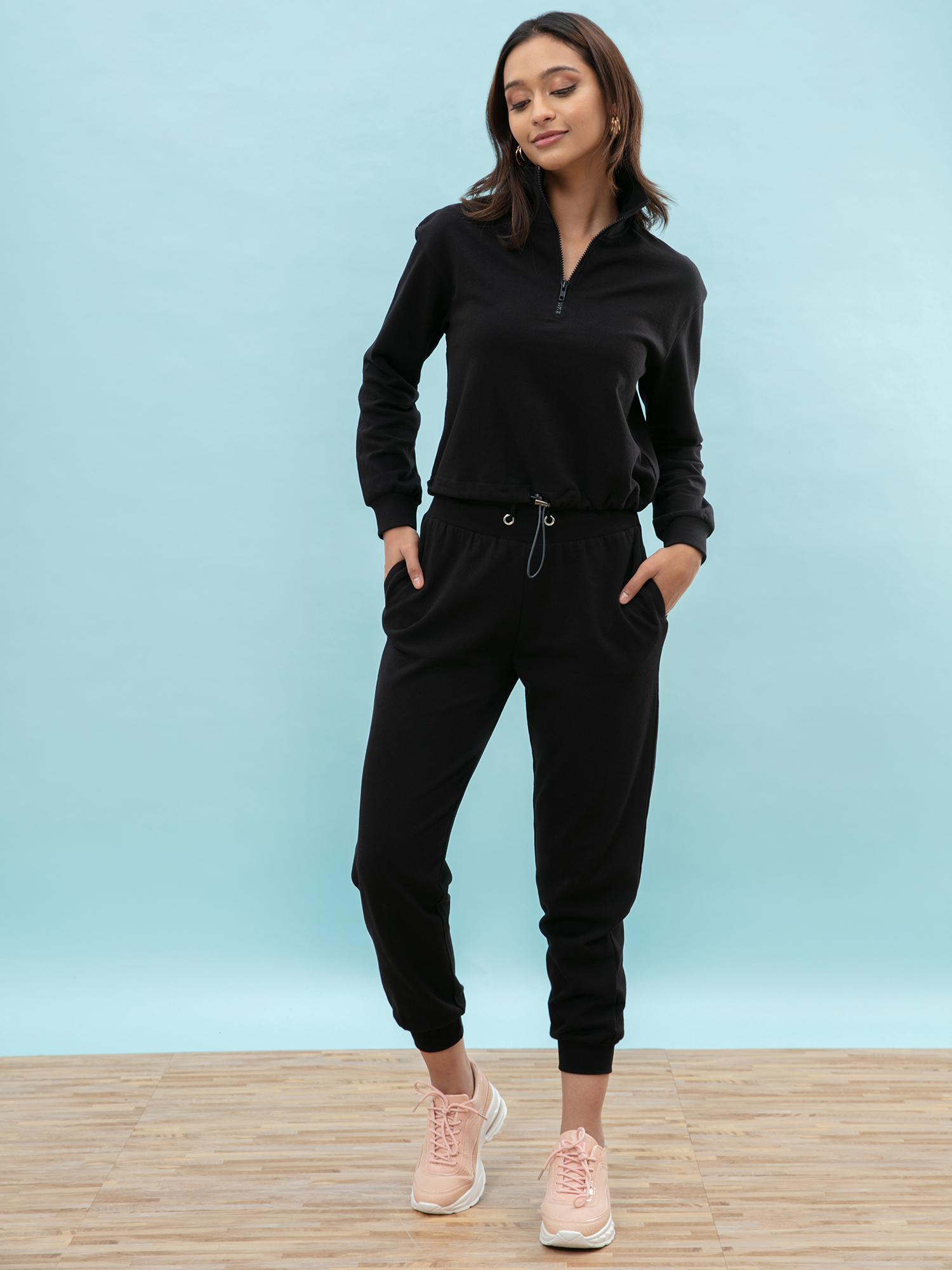 Tops-Cozy Love Black Sweatshirt1