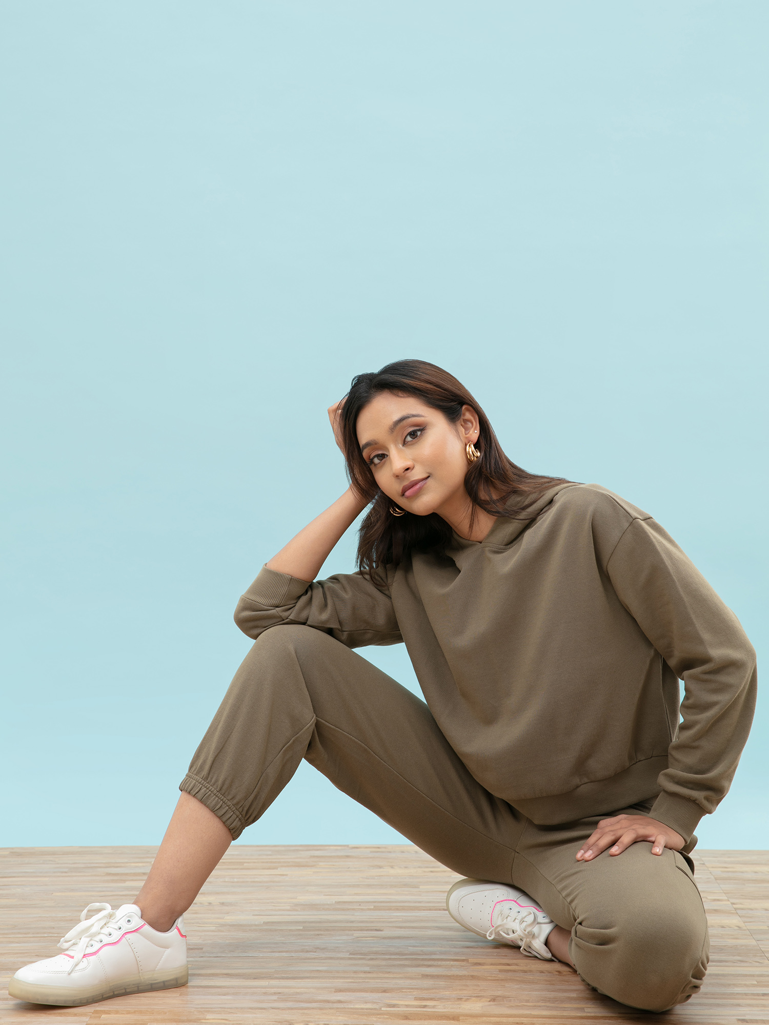 Tops-The Relaxed Olive Green Hoodie1