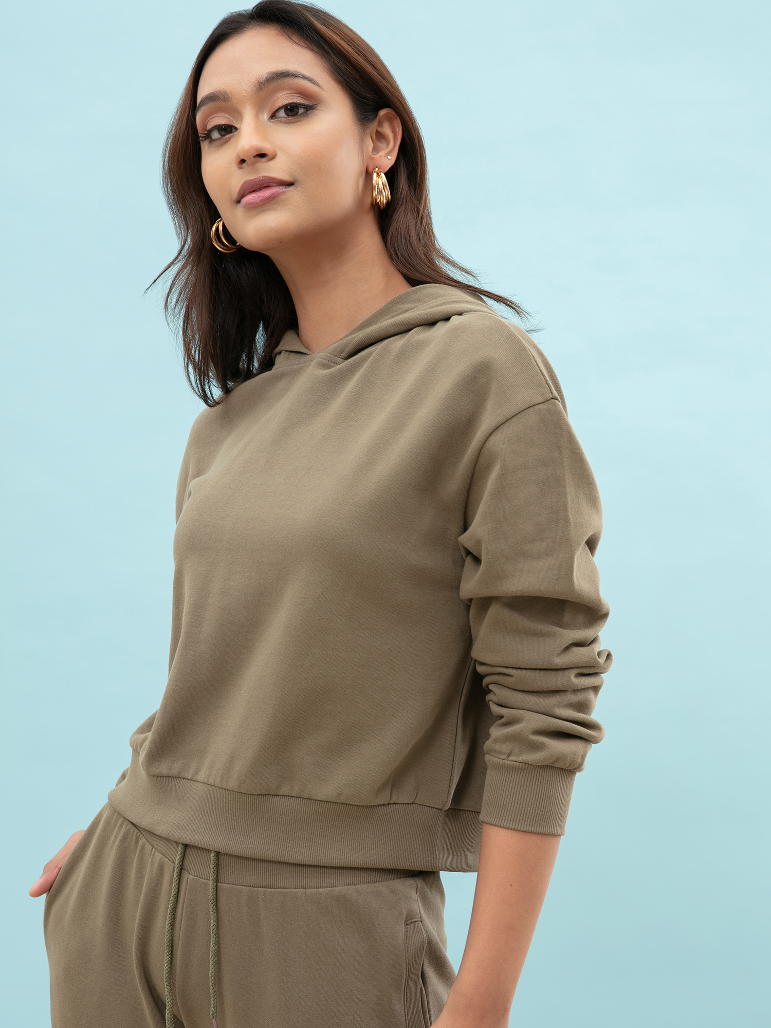 Tops-The Relaxed Olive Green Hoodie4
