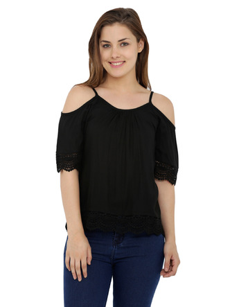 Tops-The Bohemian Black Lace Top 1