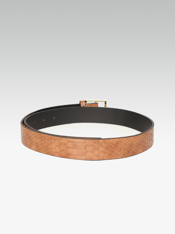 Belts-Trendy Fix Brown Textured Belt2