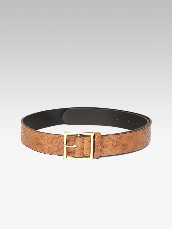 Belts-Trendy Fix Brown Textured Belt3