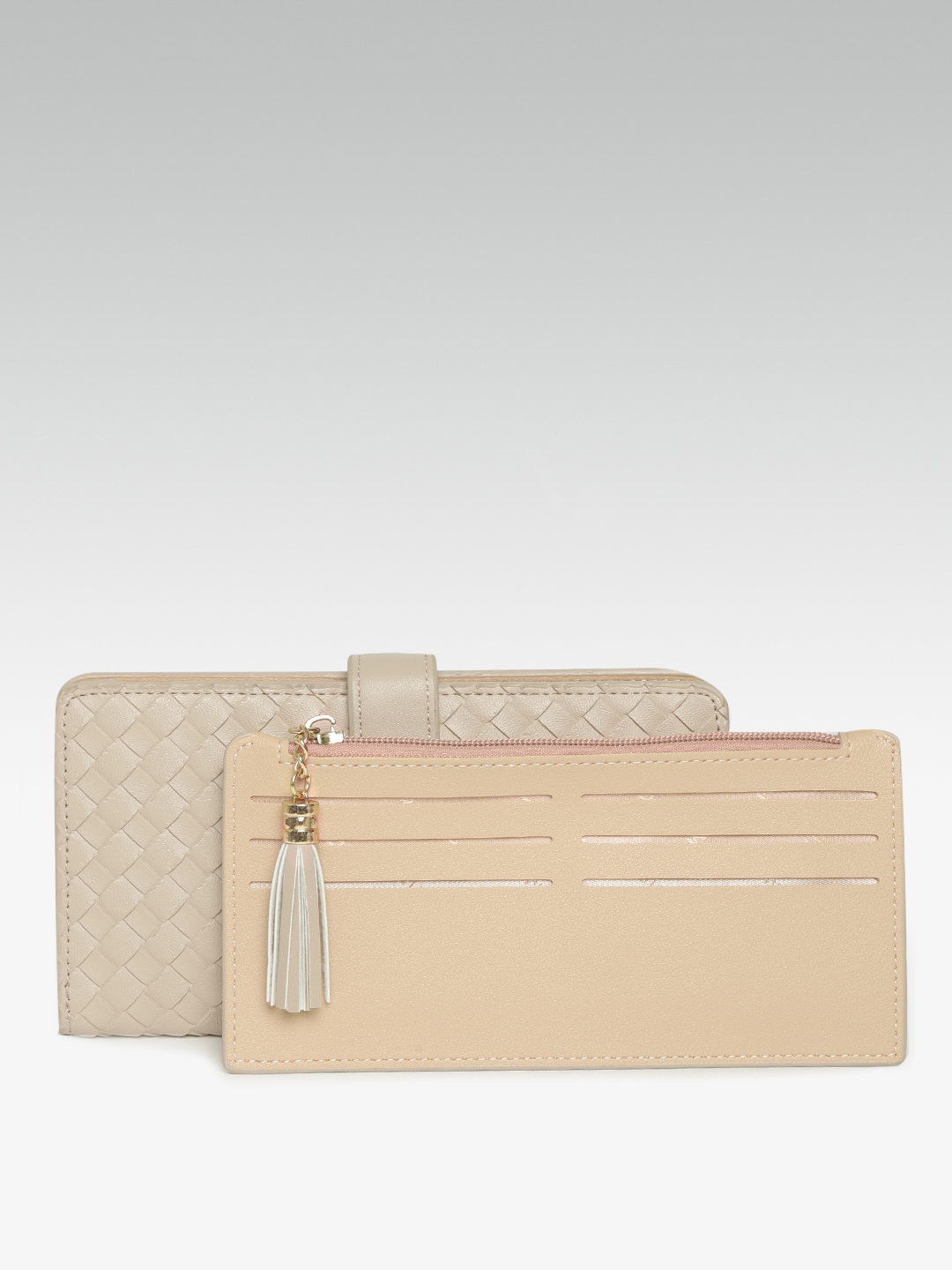 Wallets and Makeup Pouches-The Woven Rage Beige Wallet1
