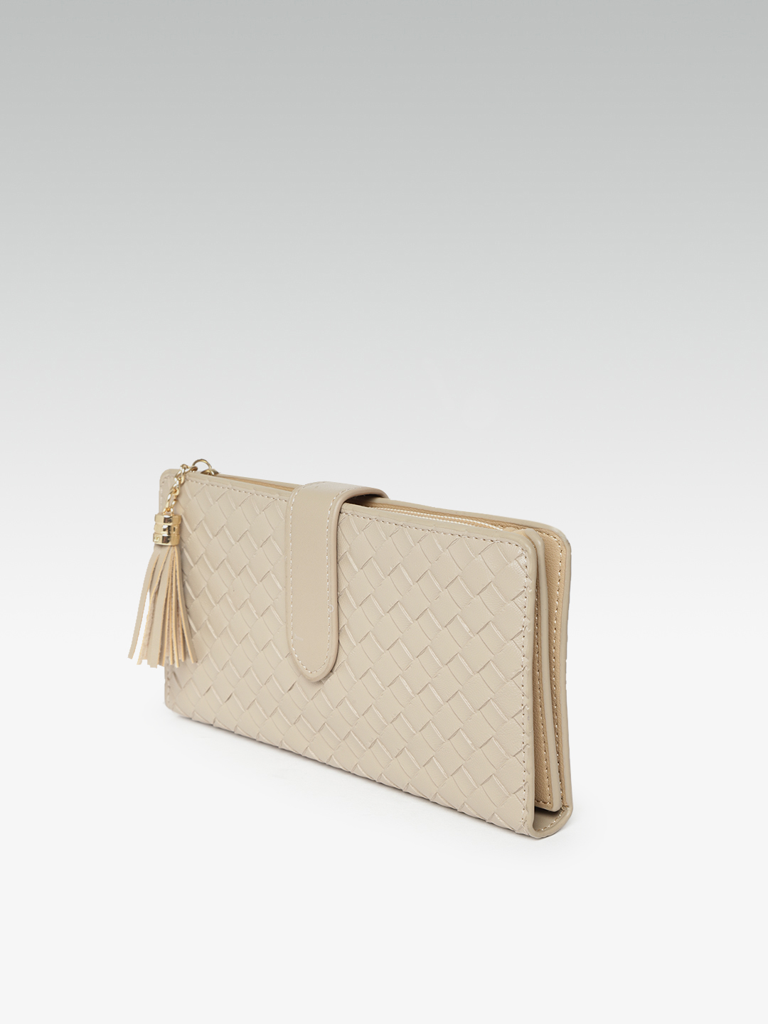 Wallets and Makeup Pouches-The Woven Rage Beige Wallet2
