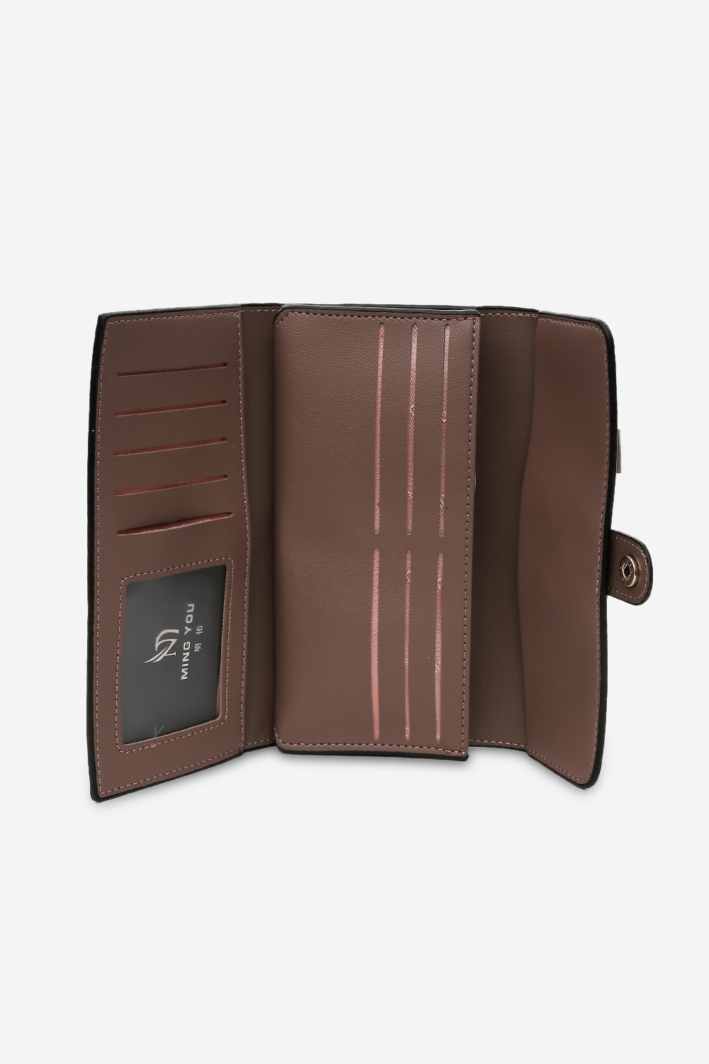 Wallets and Makeup Pouches-Dark Brown Button Up Wallet4