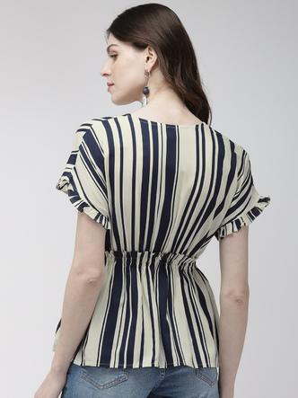 Tops-A Cute Wrap Striped Top