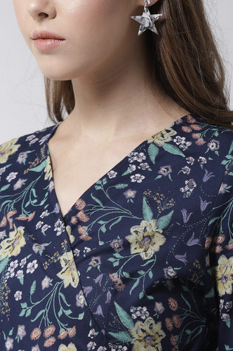 Tops-A Floral Galore Blue Top