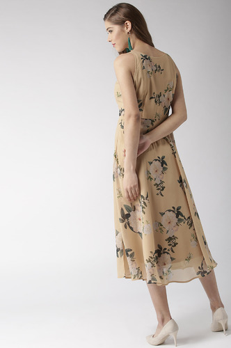 Dresses-A Sea Of Yellow Florals Midi Dress