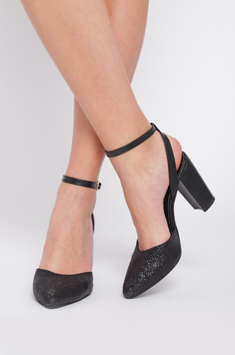Heels and Wedges-Black Long Glittery Night Block Heels