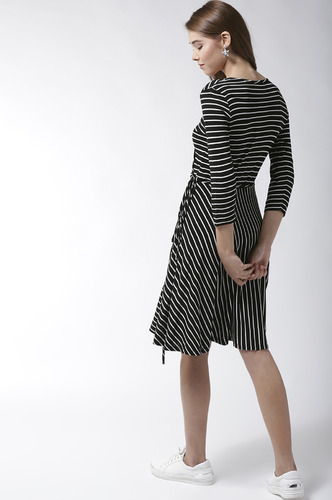Dresses-Black Stripe Me Baby One More Time Dress