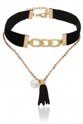 Necklaces-Chain Me Up Black Choker Necklace