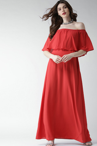 Dresses-Coral Flare It Up Maxi Dress