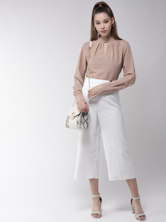 Tops-Dress The Part Formal Beige Top