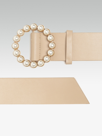Belts-For The Love Of Pearls Beige Belt