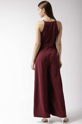 Jumpsuits-Going Down Town Maroon Jumpsuit