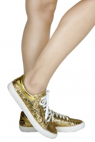 Sneakers and Loafers-Gold Rush Sequins Sneakers