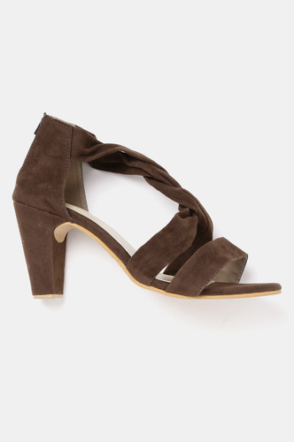 Heels and Wedges-Knot Your Average Brown Block Heels