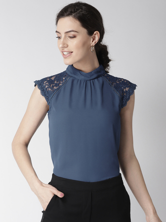 Tops-Laced In Love Blue Top