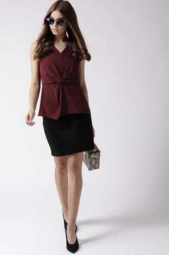Tops-Maroon Twisting The Night Away Top