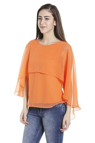 Tops-Orange Fly Away Cape Top