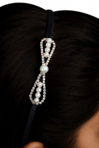 Hair Accessories-Pearl Perfect Bow Hairband