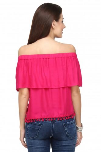 Tops-Pink The Blushing Bardot Top
