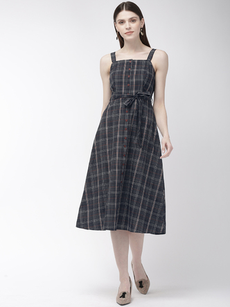 Dresses-Pretty Much Checks Midi Dress