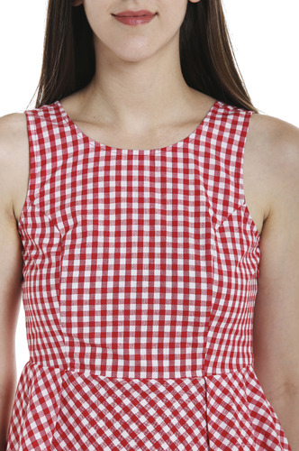 Tops-Red Check Me Out Peplum Top