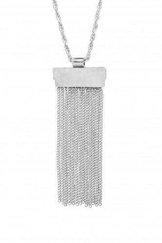 Necklaces-Silver Fringe Effect Necklace