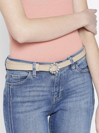 Belts-Sparkle In Style Beige Belt