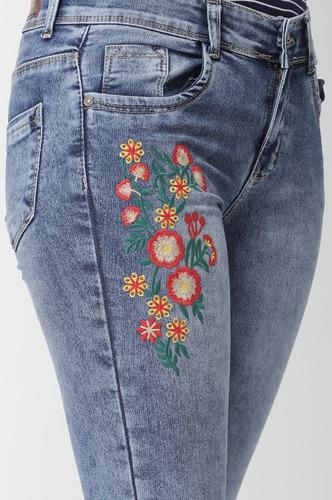 Denims Jeggings and Leggings-Take The Floral Plunge Denims