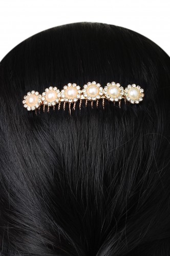 Hair Accessories-The Big Bright Pearl Flower Haircomb