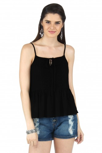 Tops-The Black Lacey Peplum Top