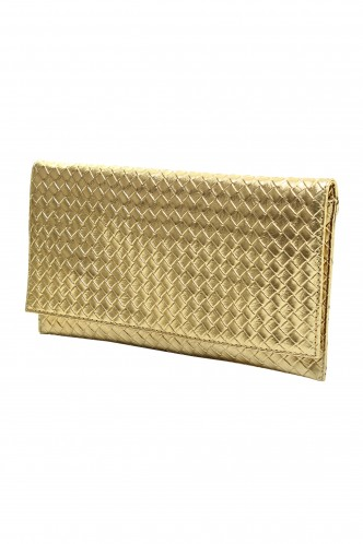 Clutches-The Gold Edition Braided Envelope Clutch