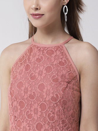 Jumpsuits-The Lacy Affair Pink Jumpsuit