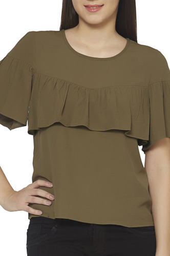 Tops-The Ruffle In Green Top
