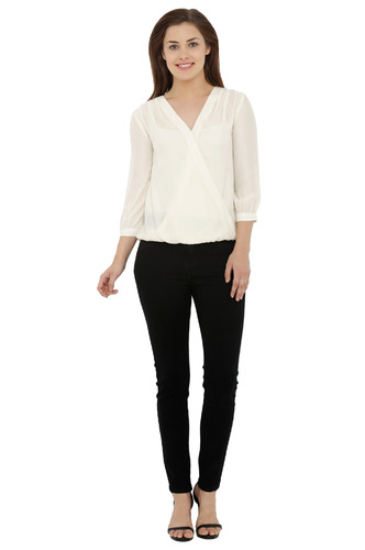 Tops-Timeless Overlap Off White Top